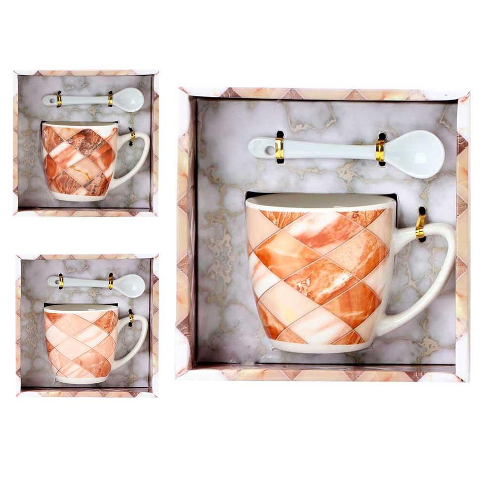 Gift set ceramic mug with small spoon model 1 متجر 15 وأقل