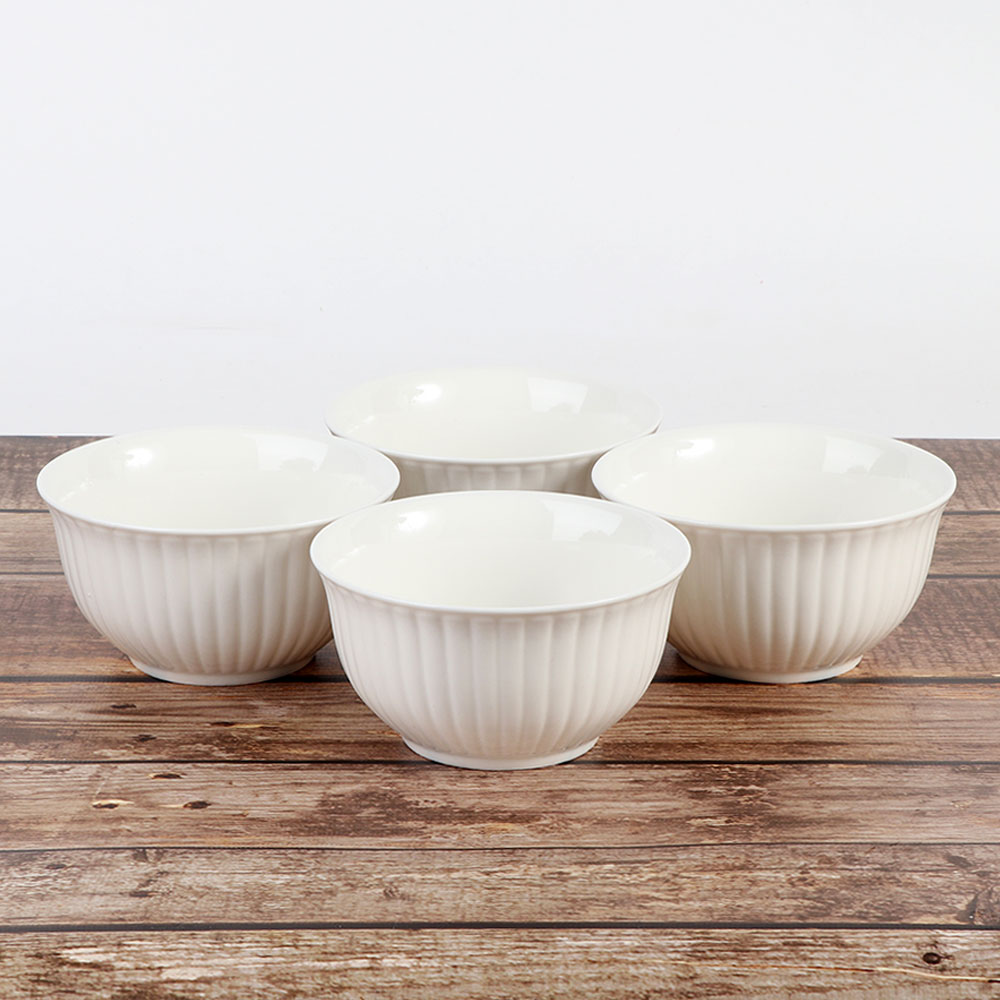 Plain white ceramic bowl 4 pieces متجر 15 وأقل