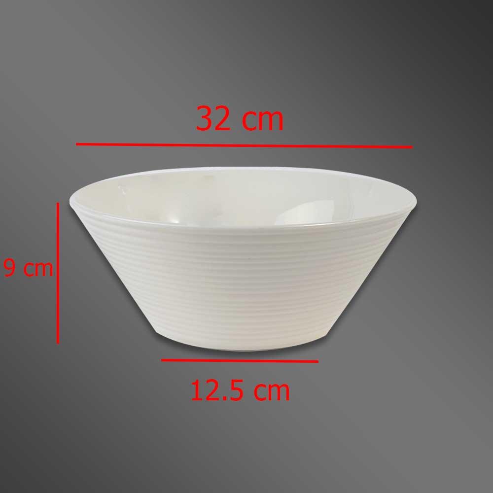 Plain decorated large white ceramic bowl 23 cm متجر 15 وأقل