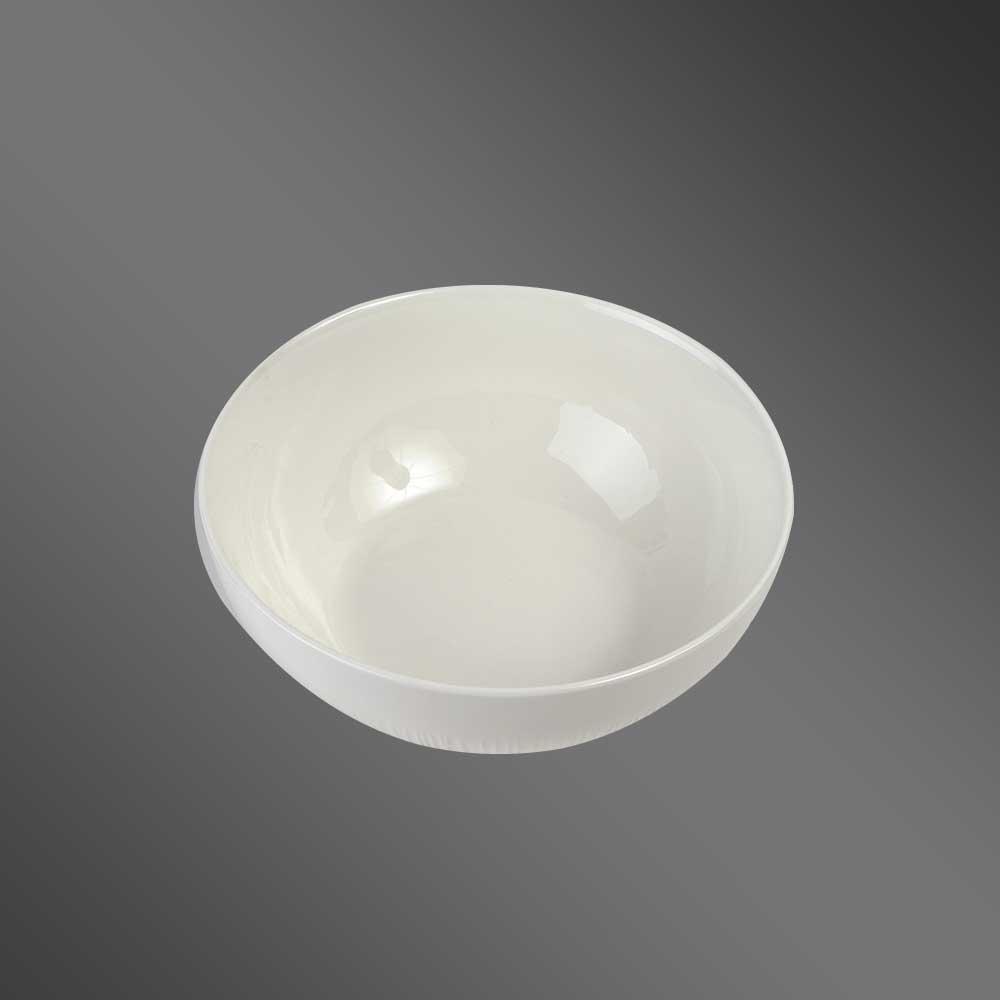 Plain decorated large white ceramic bowl 20 cm متجر 15 وأقل