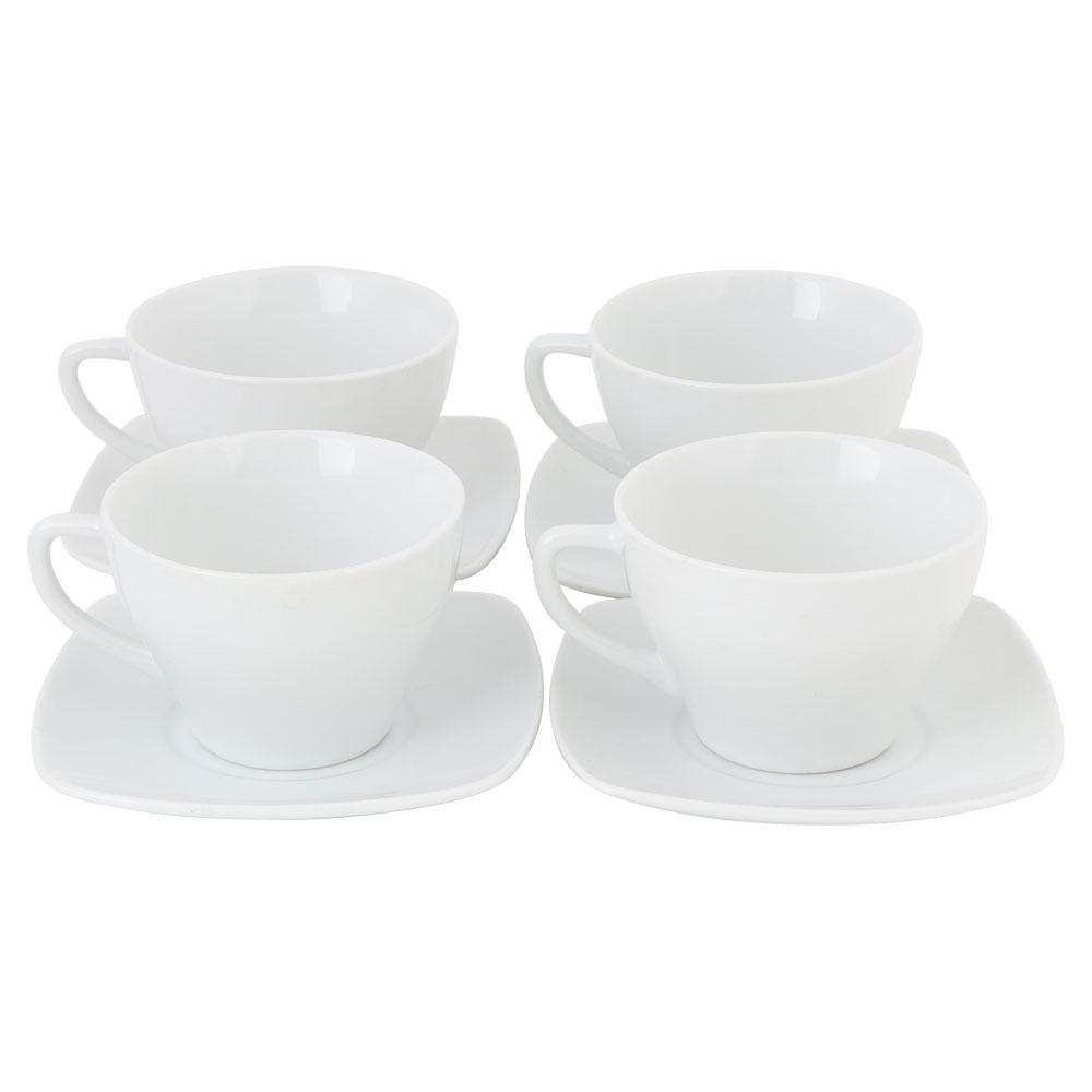كوب قهوة سيراميك ابيض مع صحن 4 قطع متجر 15 وأقل