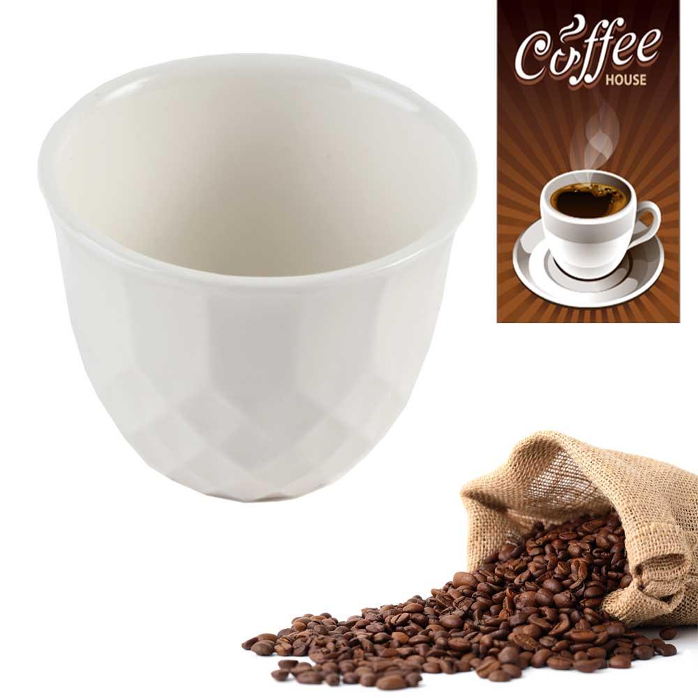 فناجين قهوة سيراميك ابيض سادة 6 قطع متجر 15 وأقل