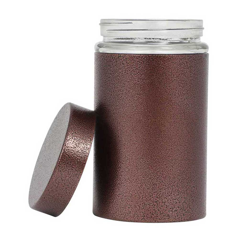 Glass jar with Metallic Brown outer layer cylindrical shape 17.5 cm متجر 15 وأقل
