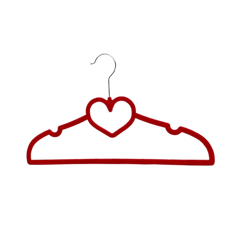 علاقة ملابس مخملية لون أحمر على شكل قلب قطعتين متجر 15 وأقل