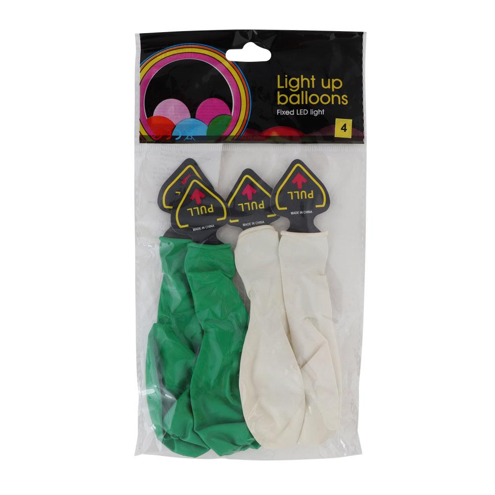 Noble Luminous National Day Balloon Plain White Green 4 PCS متجر 15 وأقل