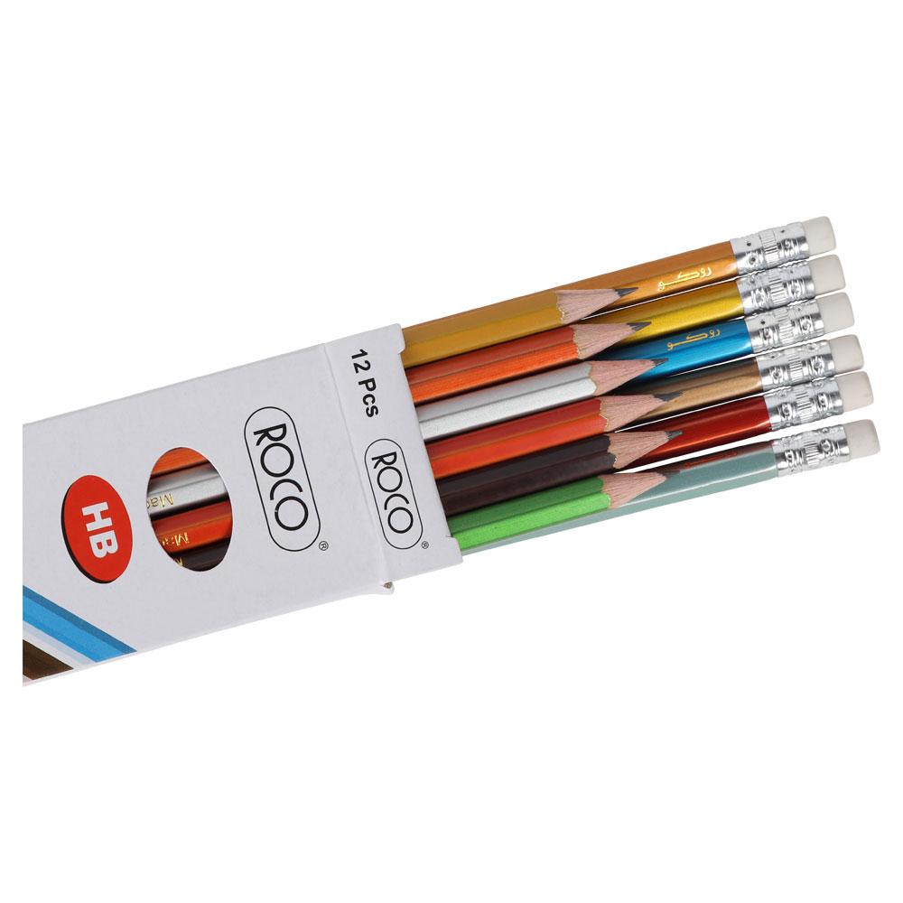روكو مرا سم ملونة بلمعة عالية الجودة 12 قلم HB متجر 15 وأقل