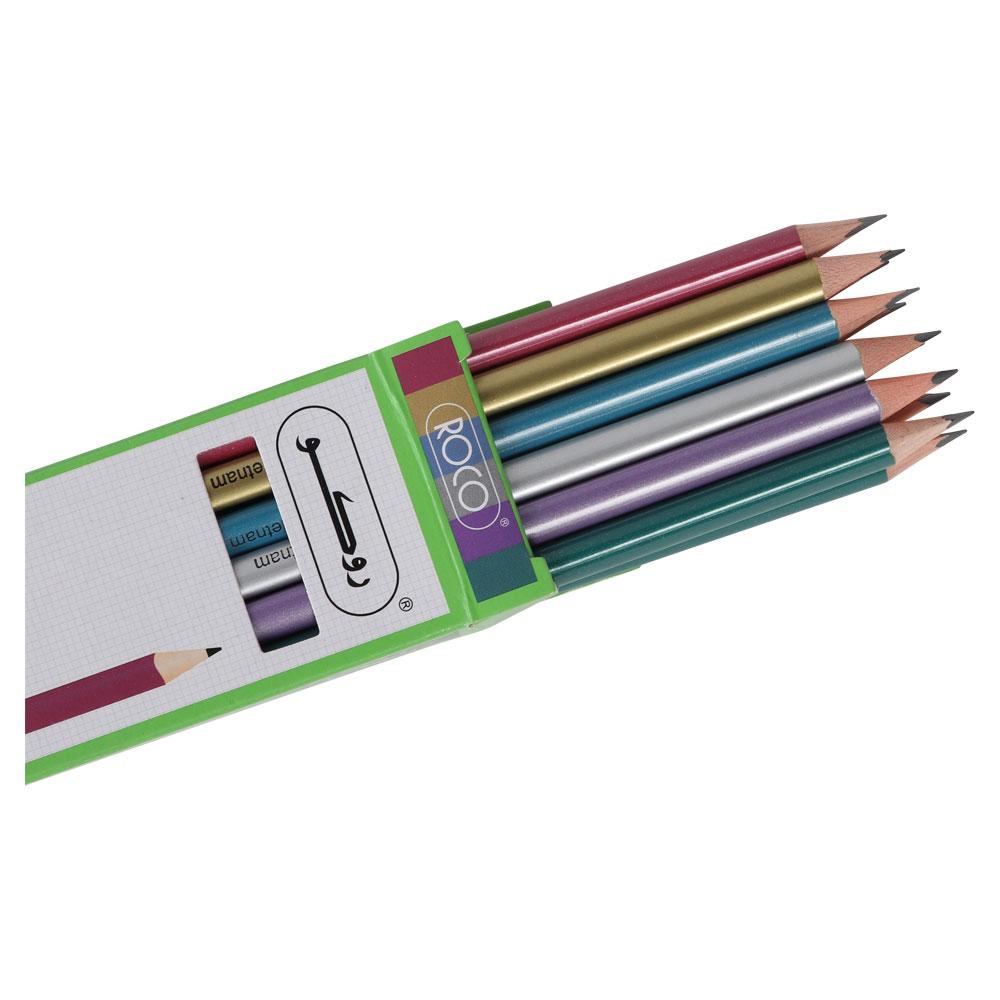 روكو مرا سم ملونة بلمعة عالية الجودة 12قلم HB2 متجر 15 وأقل