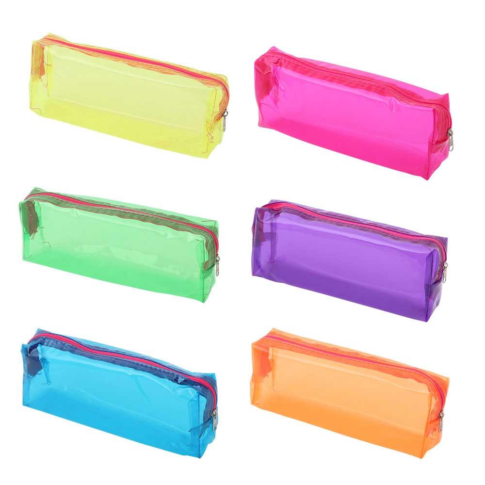 مقلمية مدرسية شفافة بألوان فسفورية متجر 15 وأقل