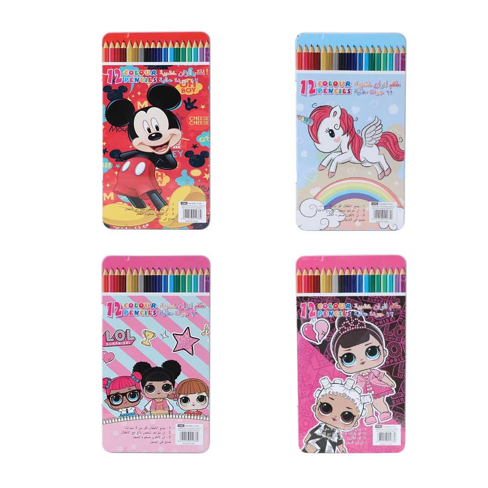 علبة ألوان خشبية مستطيلة شخصيات كرتونية للأطفال 12 لون متجر 15 وأقل