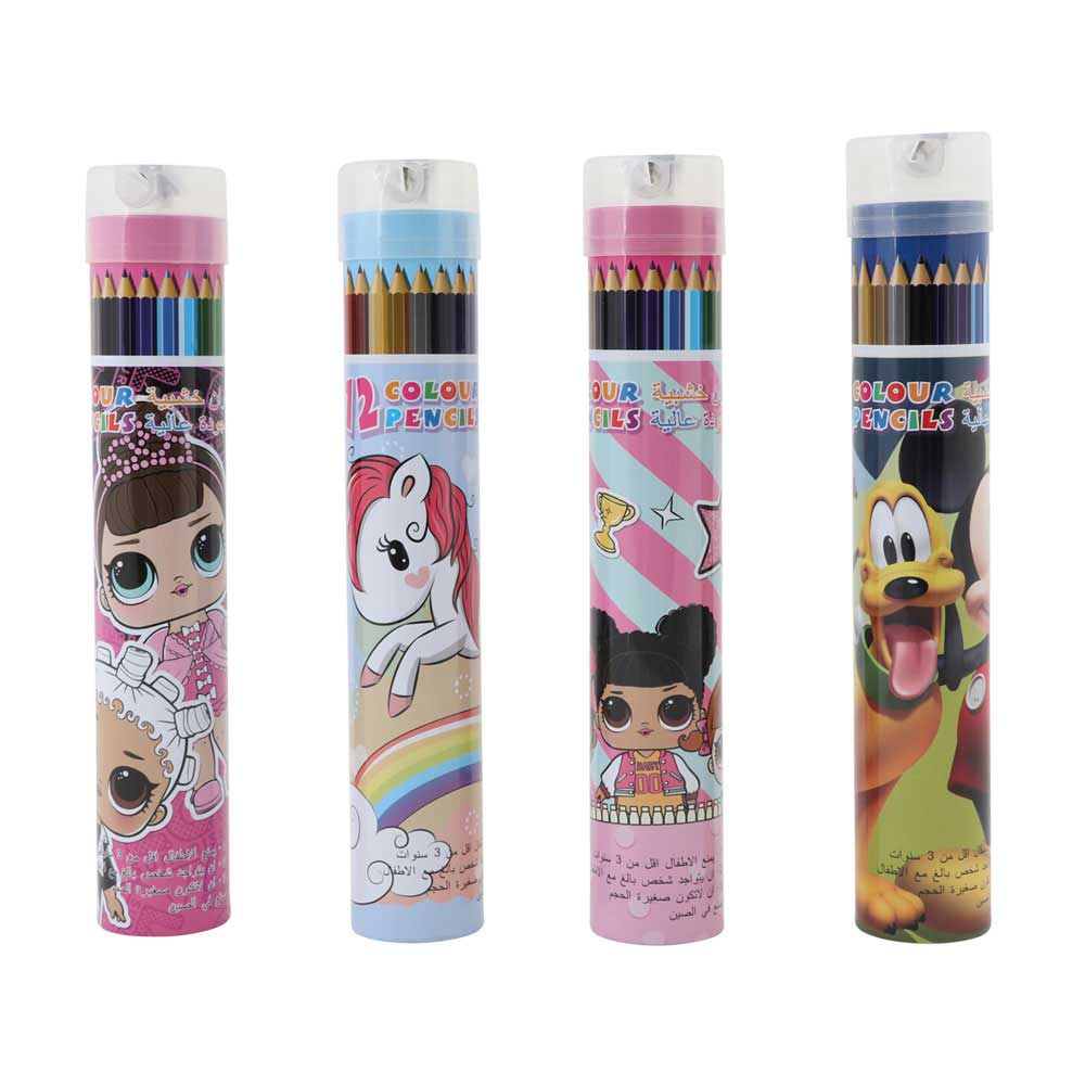 Noble color pencils box with cover pencil sharpener children's cartoon characters 12 colors متجر 15 وأقل