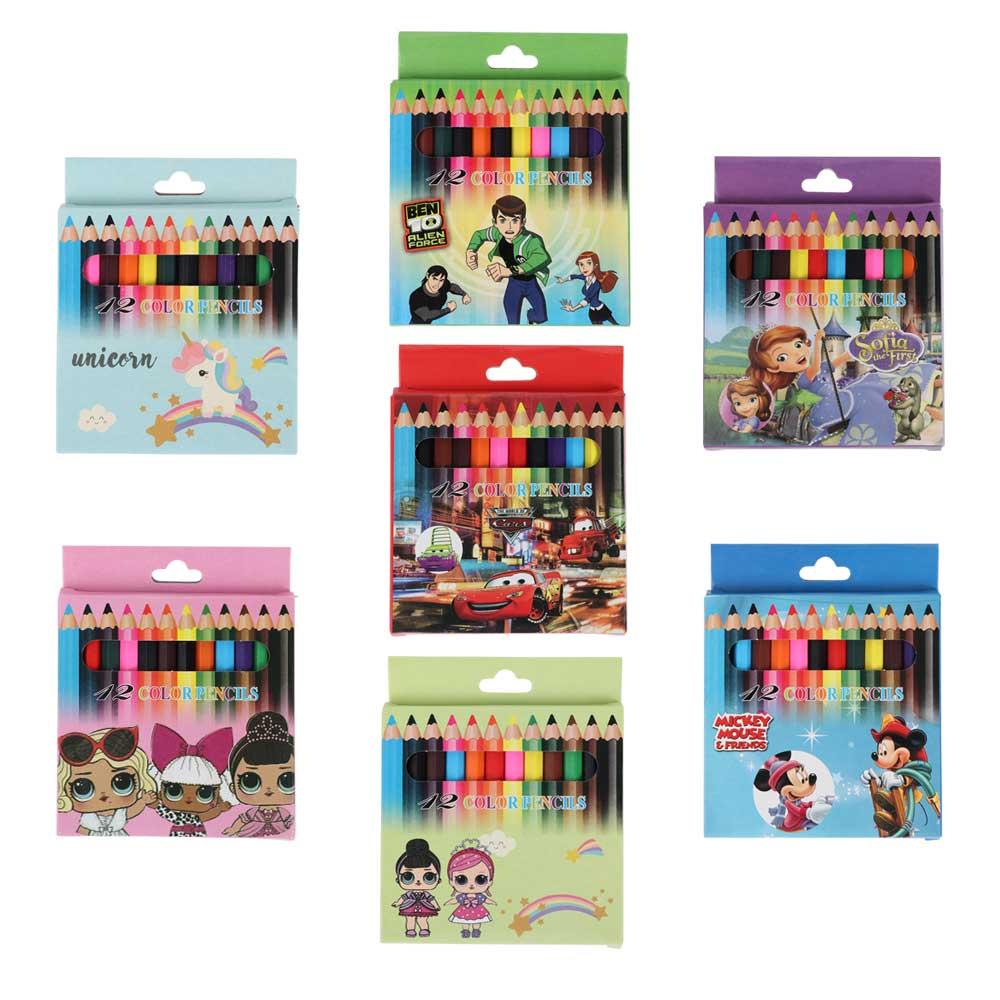 Noble small cartoon color pencils box for children 12 colors متجر 15 وأقل