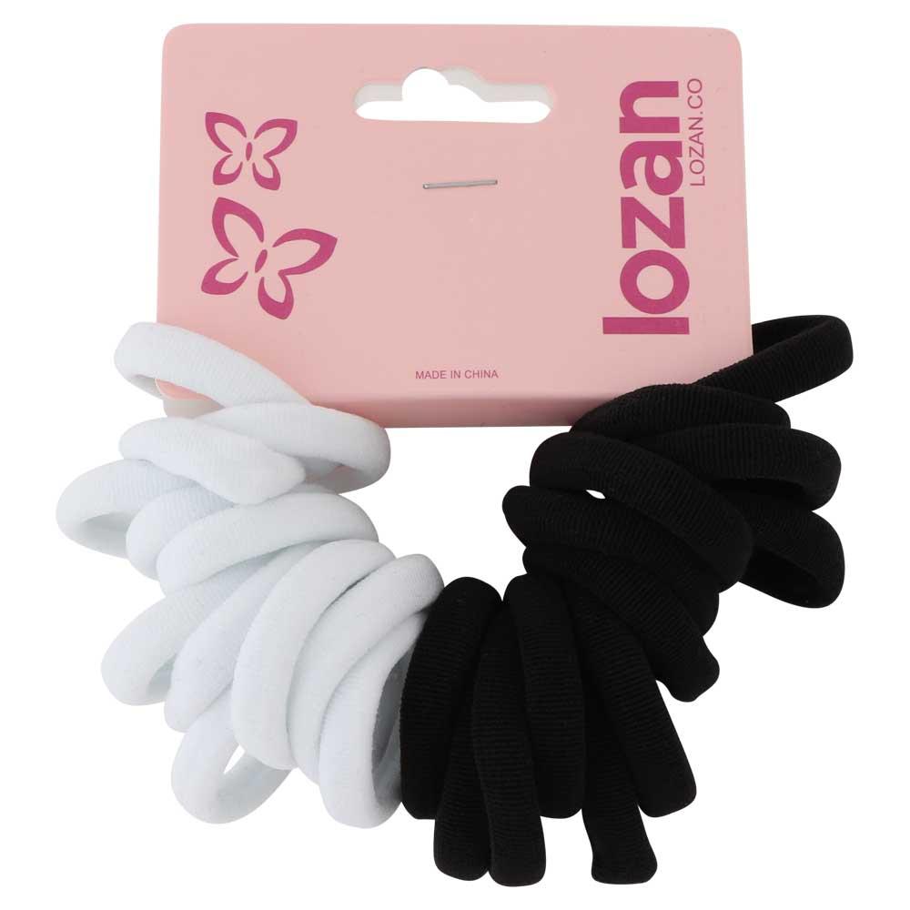 ربطات شعر مطاط قماشي سادة أبيض أسود صغير 20 قطعة متجر 15 وأقل