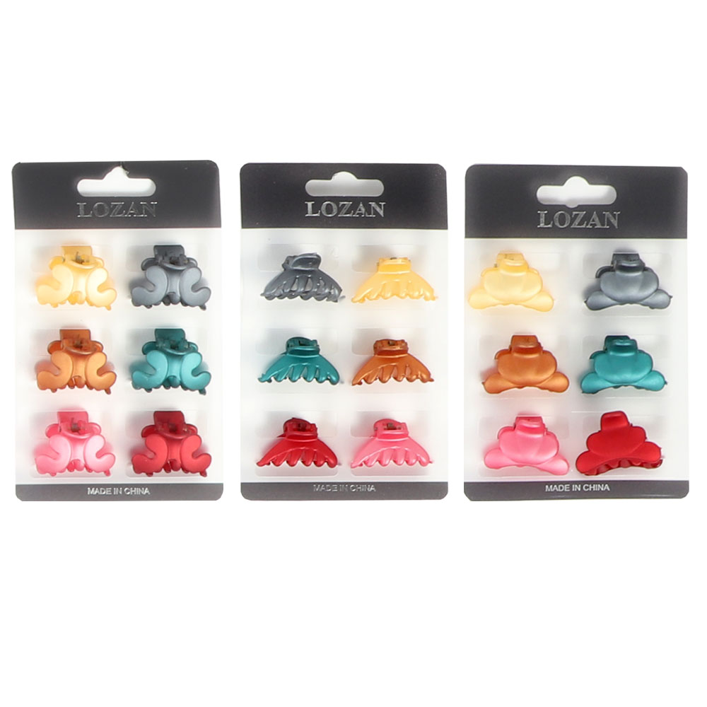 A set of plain hair clips in different colors small matte 6 pieces متجر 15 وأقل