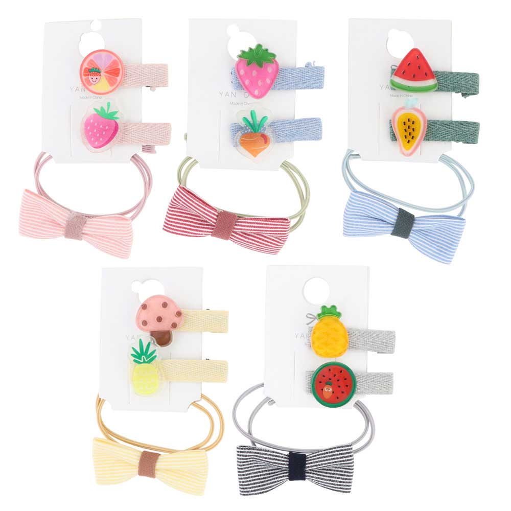 A set of small fruit ties and hair clips with striped bow 3 pieces متجر 15 وأقل