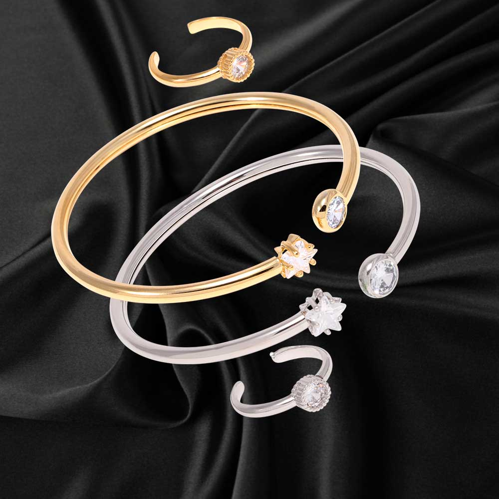 Wrap bracelet studded with zircon lobes with a single lobe ring متجر 15 وأقل