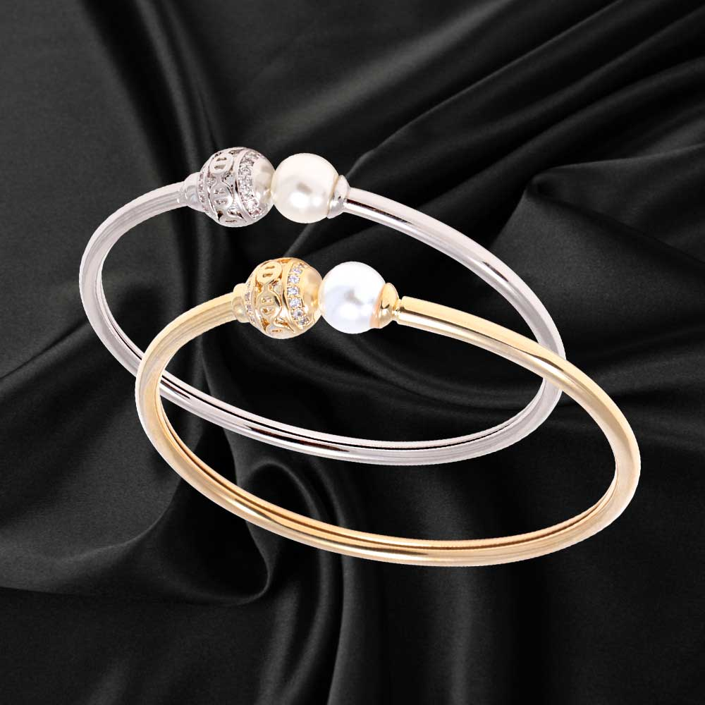 Wrap bracelet studded with zircon lobes and pearl beads متجر 15 وأقل