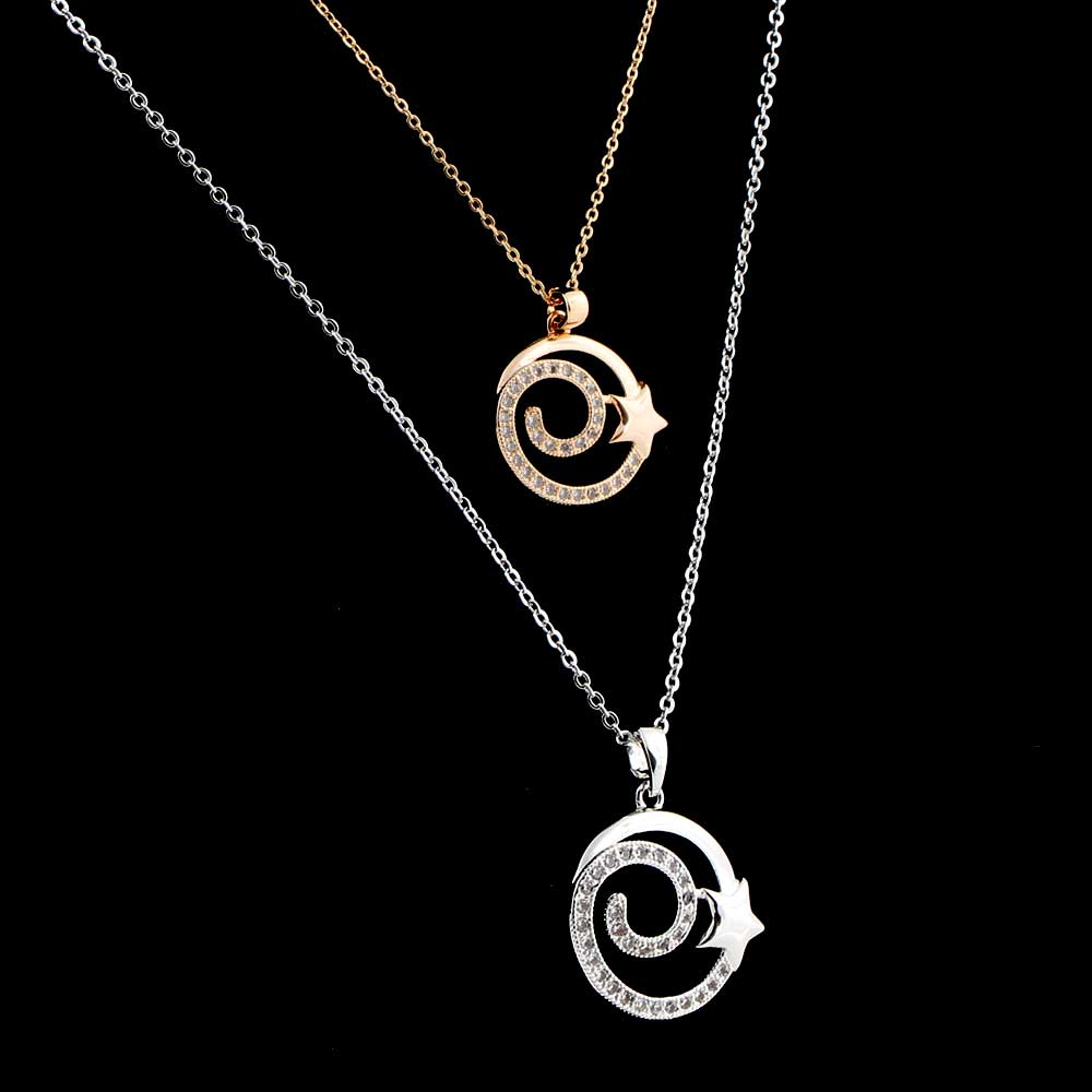 Star ring pendant necklace with zircon lobes متجر 15 وأقل