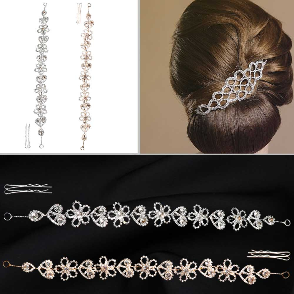 Metal women's hair accessories with zircon lobes Model 2 متجر 15 وأقل