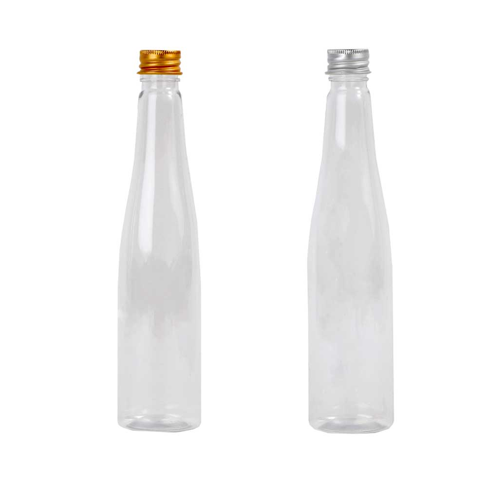 A transparent plastic bottle with a metal cap 3 PCS model 4 متجر 15 وأقل