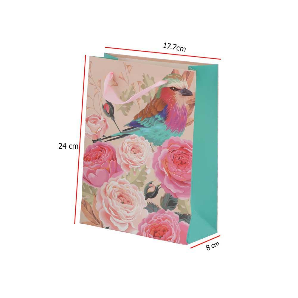 Small bird print gift bag with satin ribbon متجر 15 وأقل