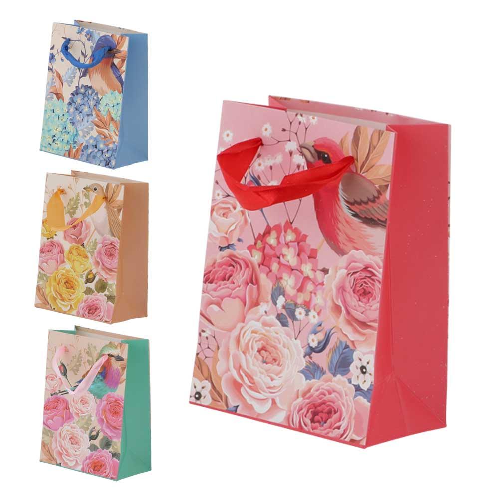 Extra Small bird print gift bag with satin ribbon متجر 15 وأقل