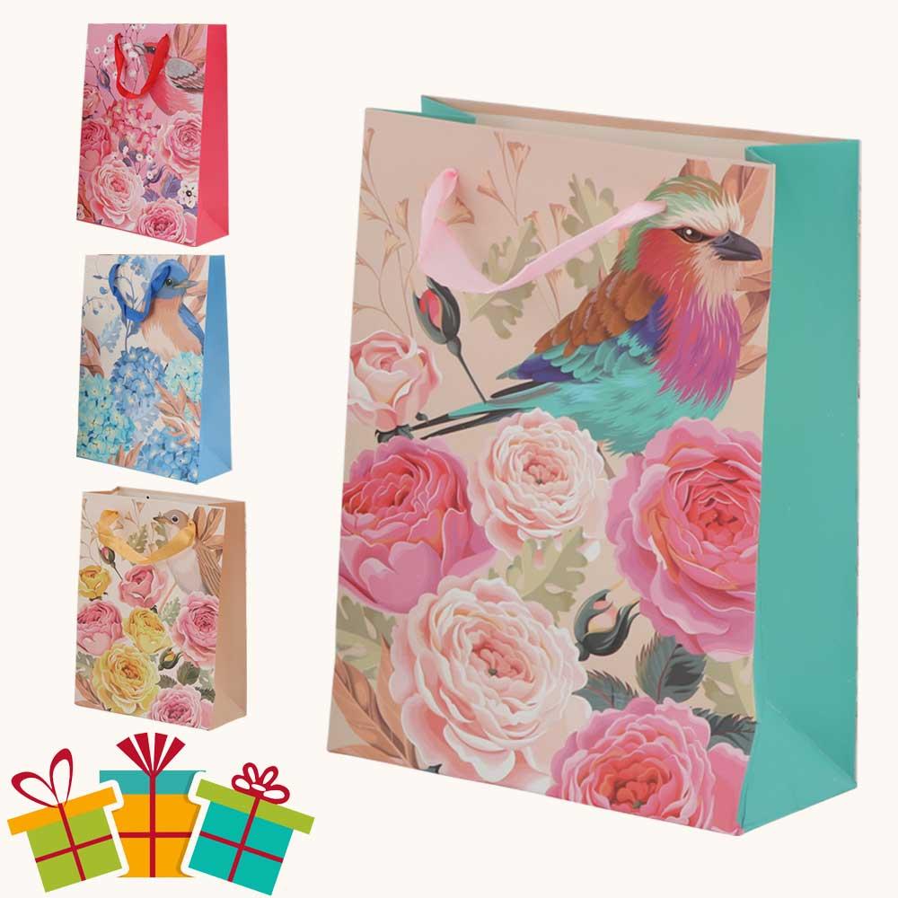 Large bird print gift bag with satin ribbon متجر 15 وأقل