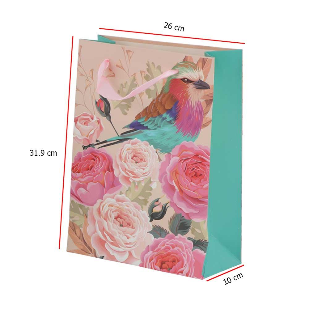 Medium bird print gift bag with satin ribbon متجر 15 وأقل