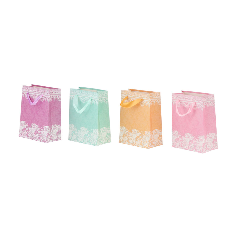 Small decorated gift bag with satin ribbon متجر 15 وأقل