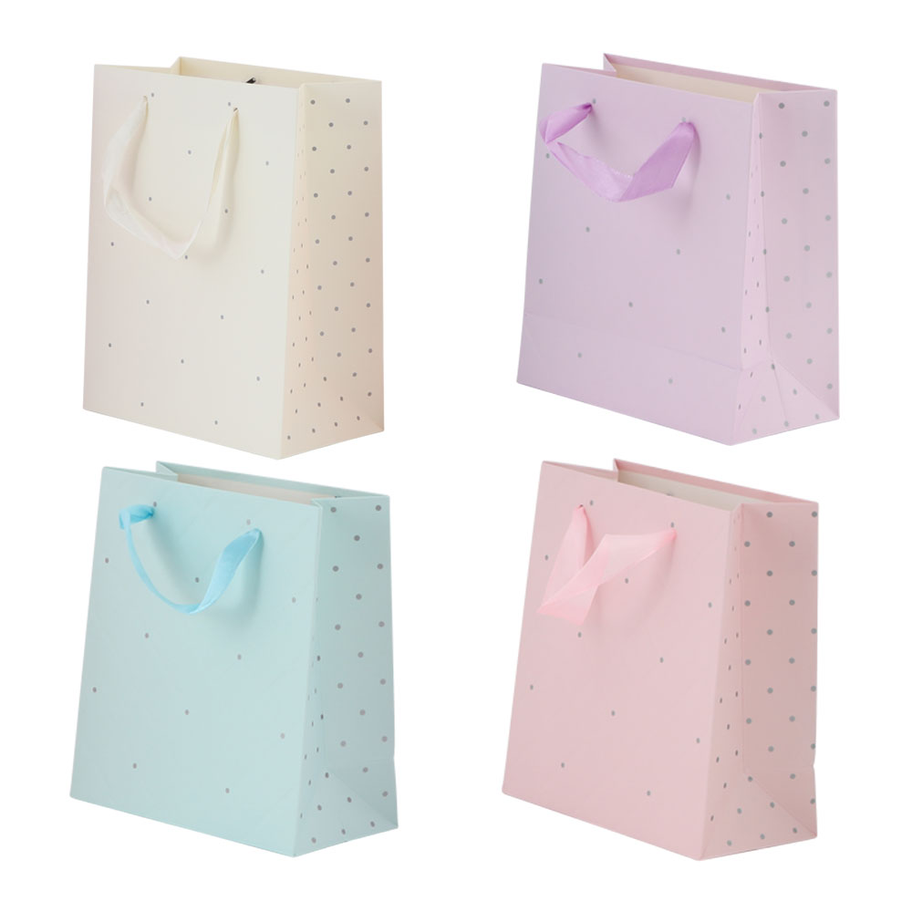 Extra Small dotted gift bag with satin ribbon متجر 15 وأقل