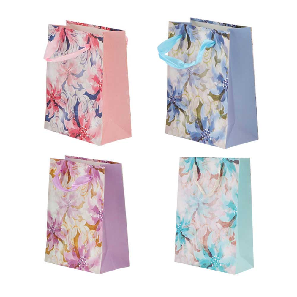 Large flowered gift bag with satin ribbon متجر 15 وأقل