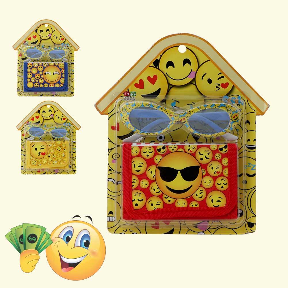 Wallet set with glasses with a cartoon Smiles character for boys متجر 15 وأقل