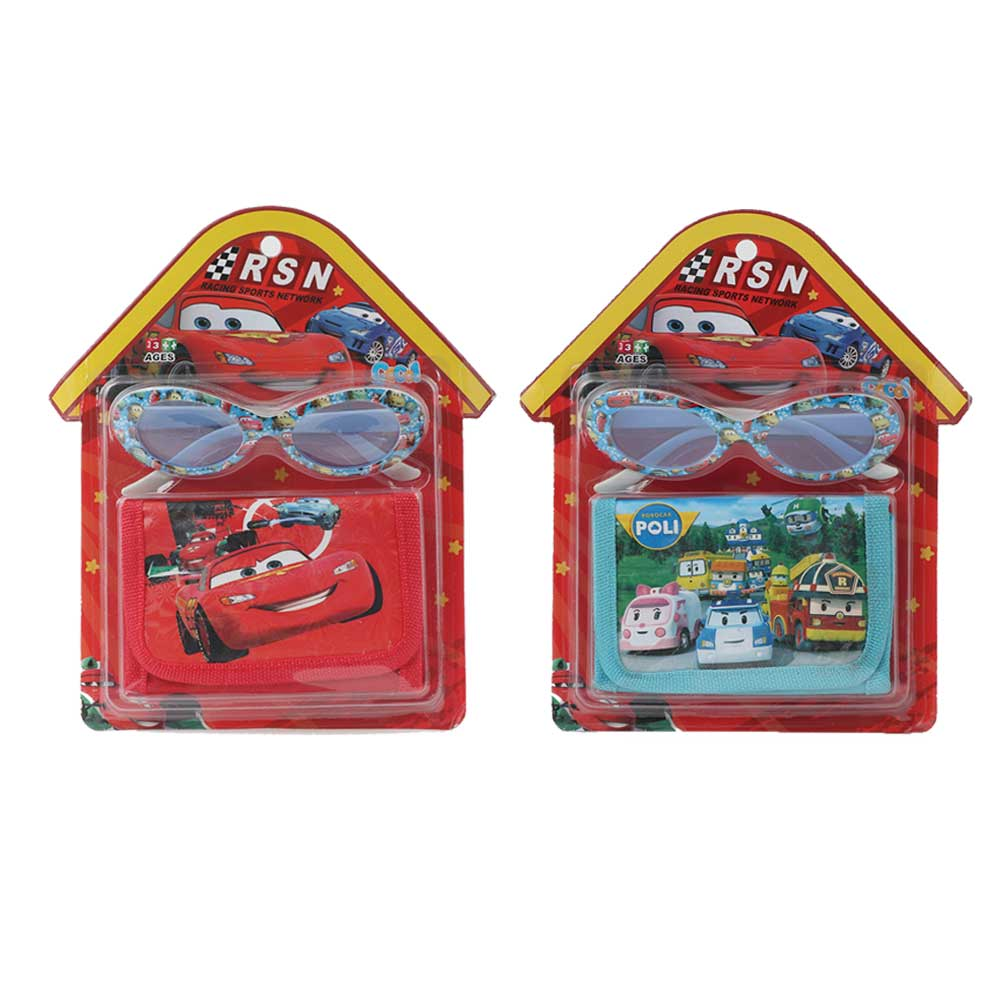 Wallet set with glasses characteristic of cartoon cars for boys متجر 15 وأقل