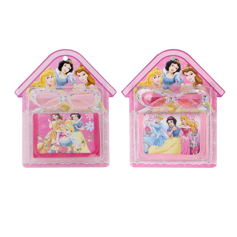 Wallet set with glasses of cartoon Disney princesses for girls متجر 15 وأقل