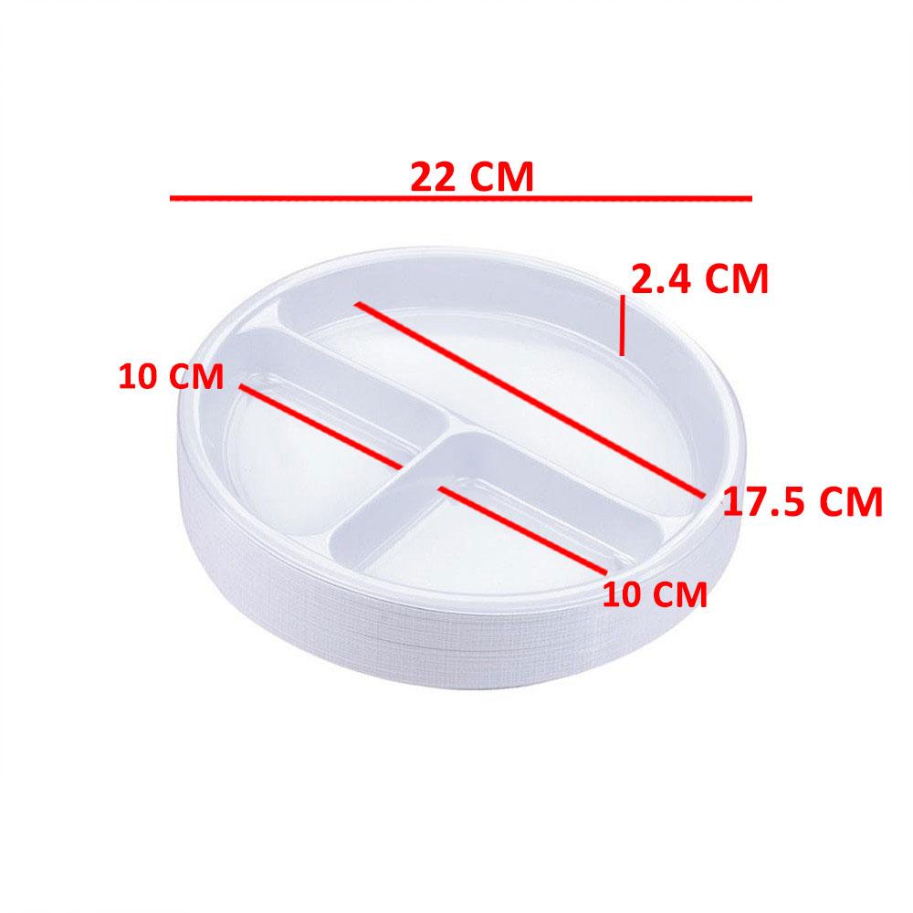 3P صحون دائرية مقسمة استهلاكية مقاس 26/3 عدد 50 قطعة متجر 15 وأقل