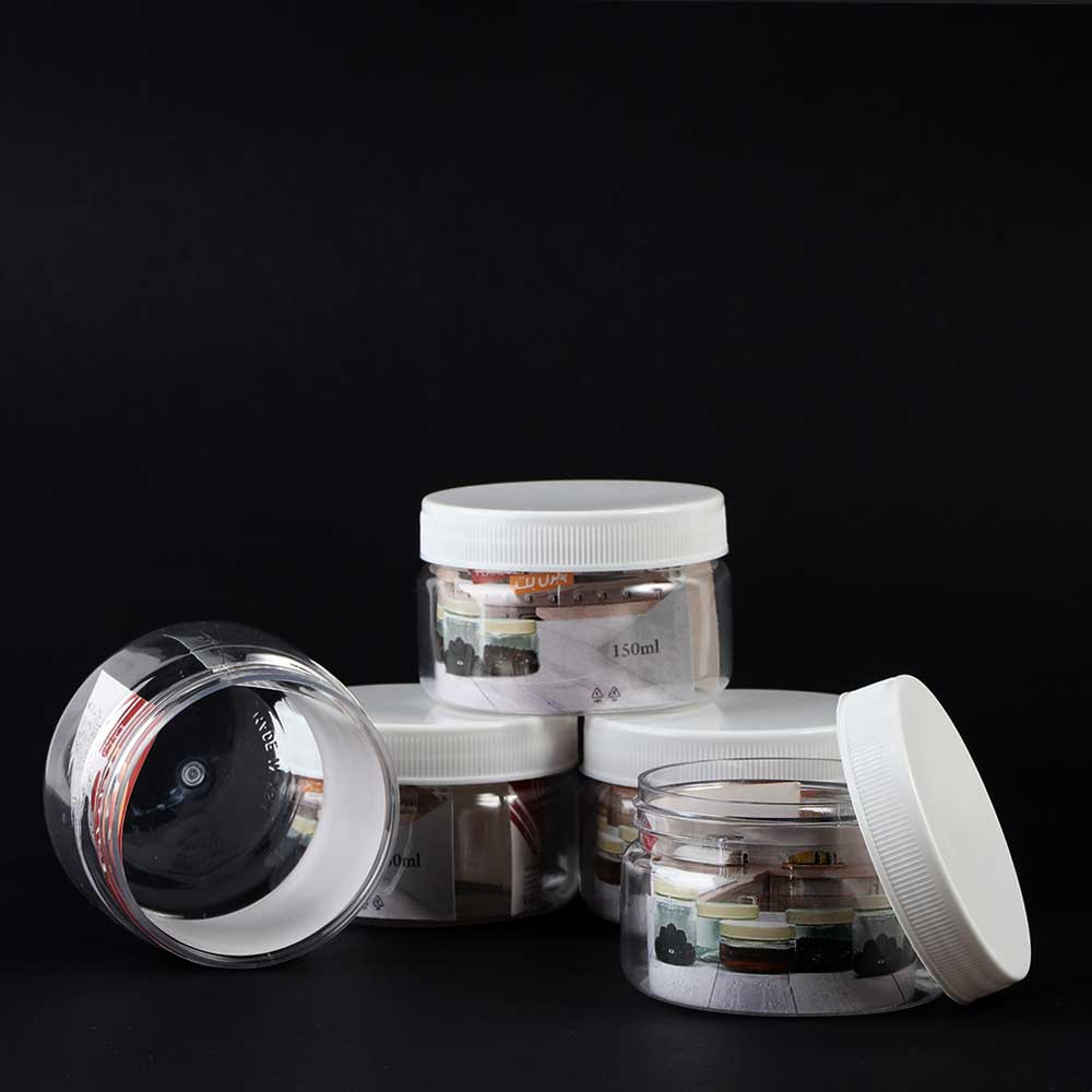 A transparent plastic jar with a round lid 150 ml 8 pieces متجر 15 وأقل