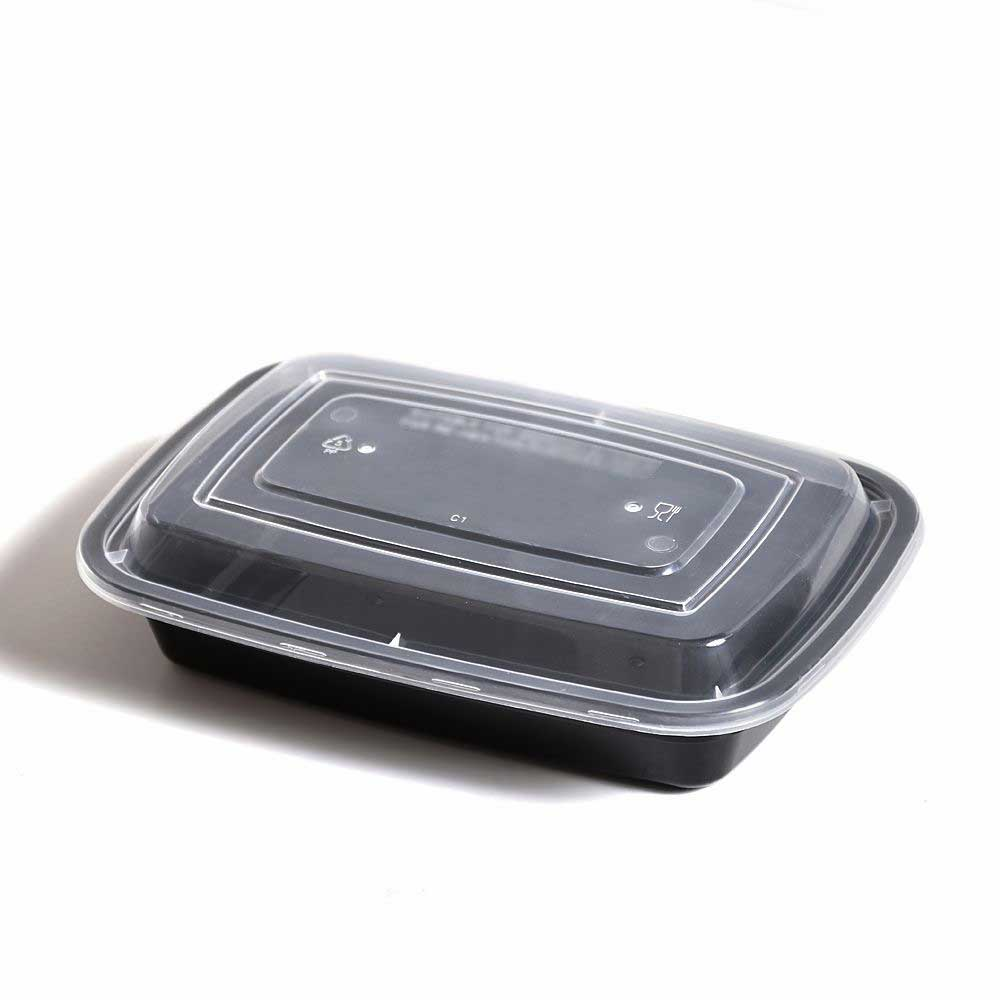 Black rectangular plastic containers with a cover 750 ml 7 pieces متجر 15 وأقل