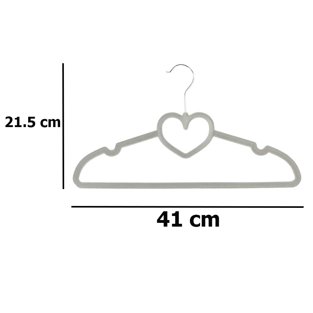 Velvet clothes hanger gray color heart shape 2 pieces متجر 15 وأقل