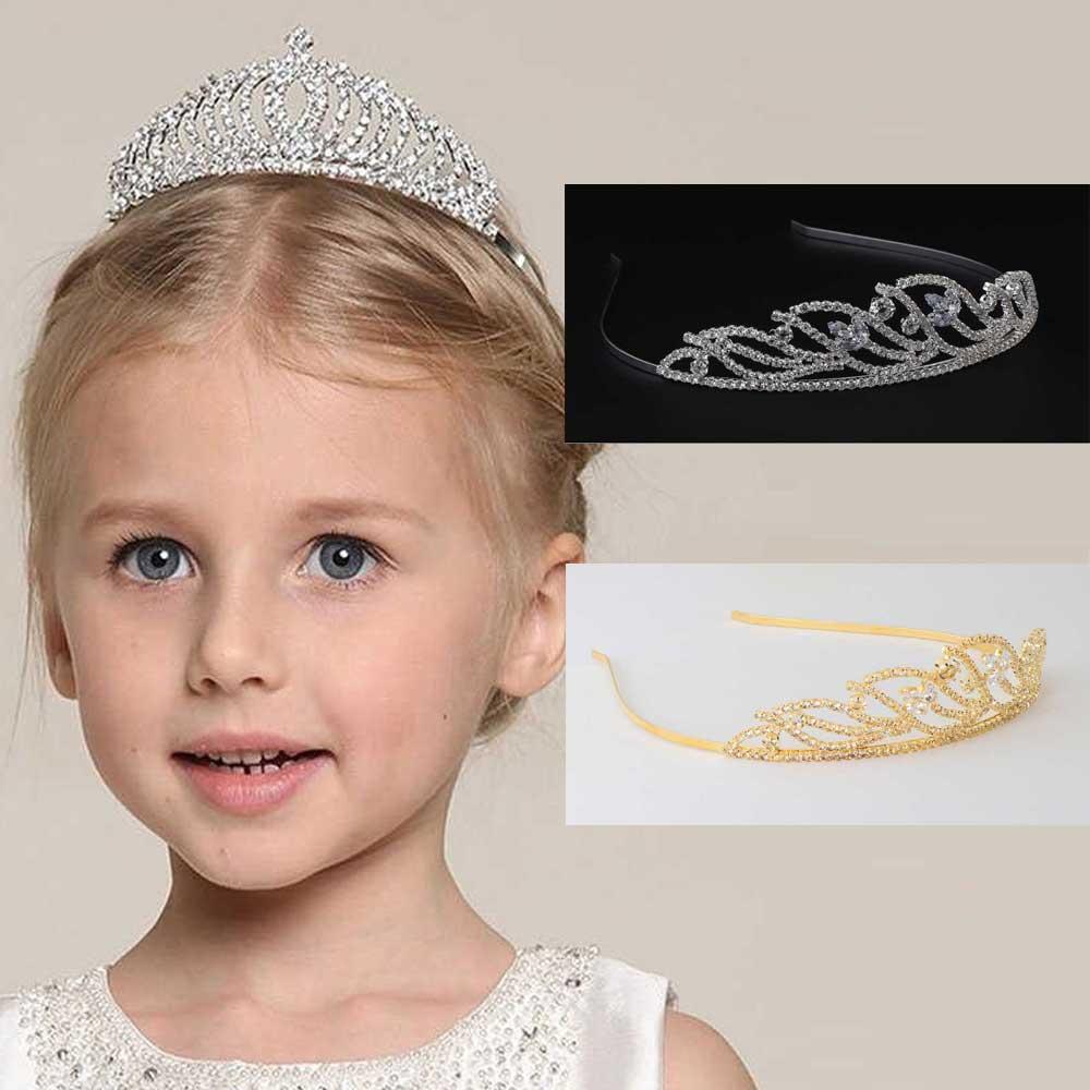 Girl's tiara studded with zircon lobes متجر 15 وأقل