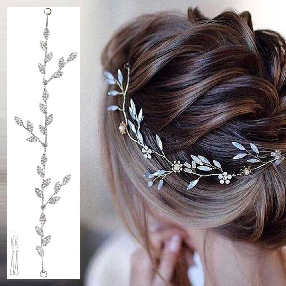 women's hair accessory silver colour with zircon lobes branches and leaves متجر 15 وأقل