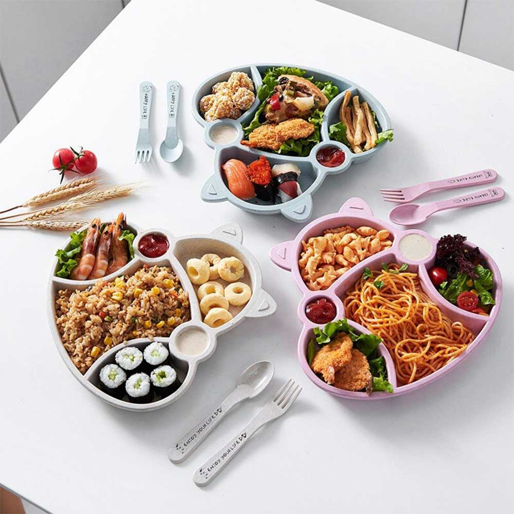 Divided plate set with eating utensils for kids White متجر 15 وأقل