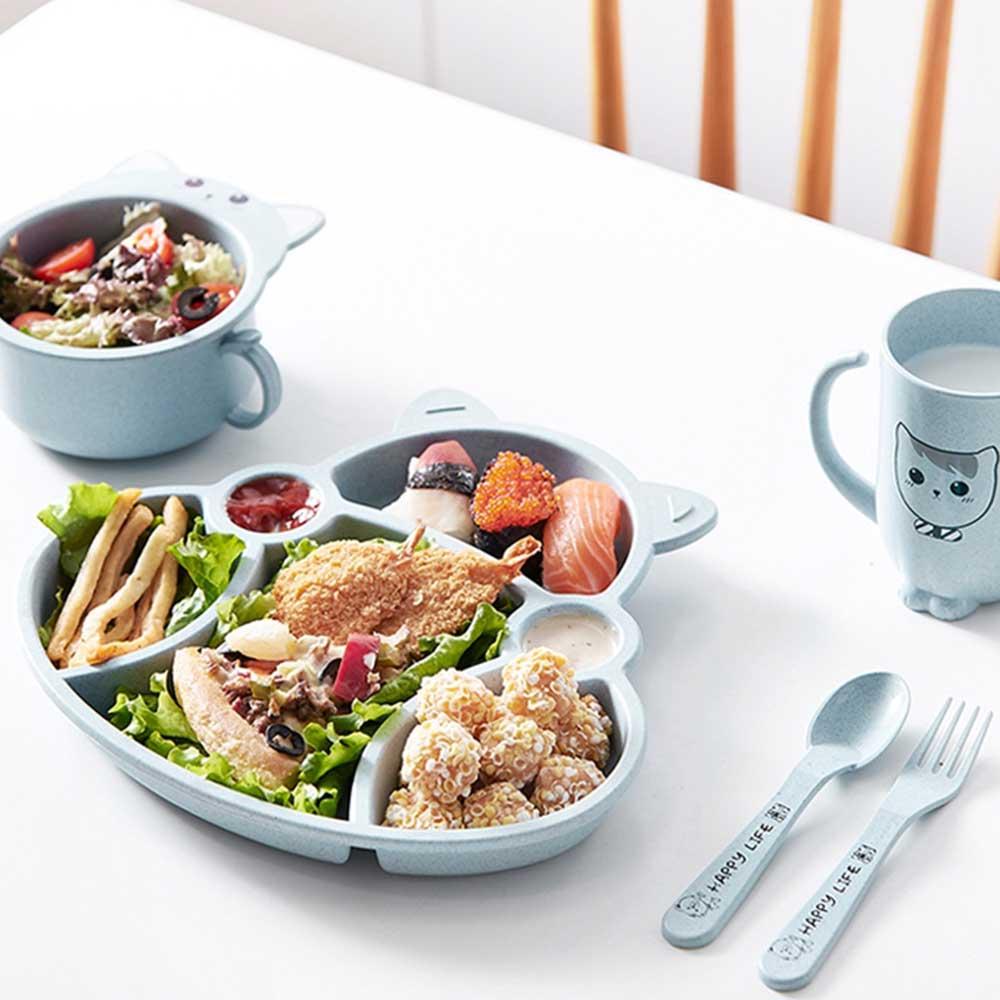 طقم صحن مقسم مع أدوات الأكل للأطفال أزرق متجر 15 وأقل