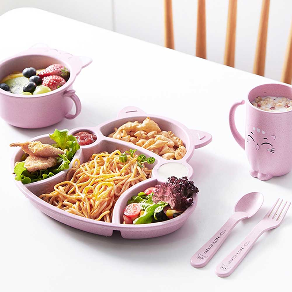 Divided plate set with eating utensils for kids Pink متجر 15 وأقل