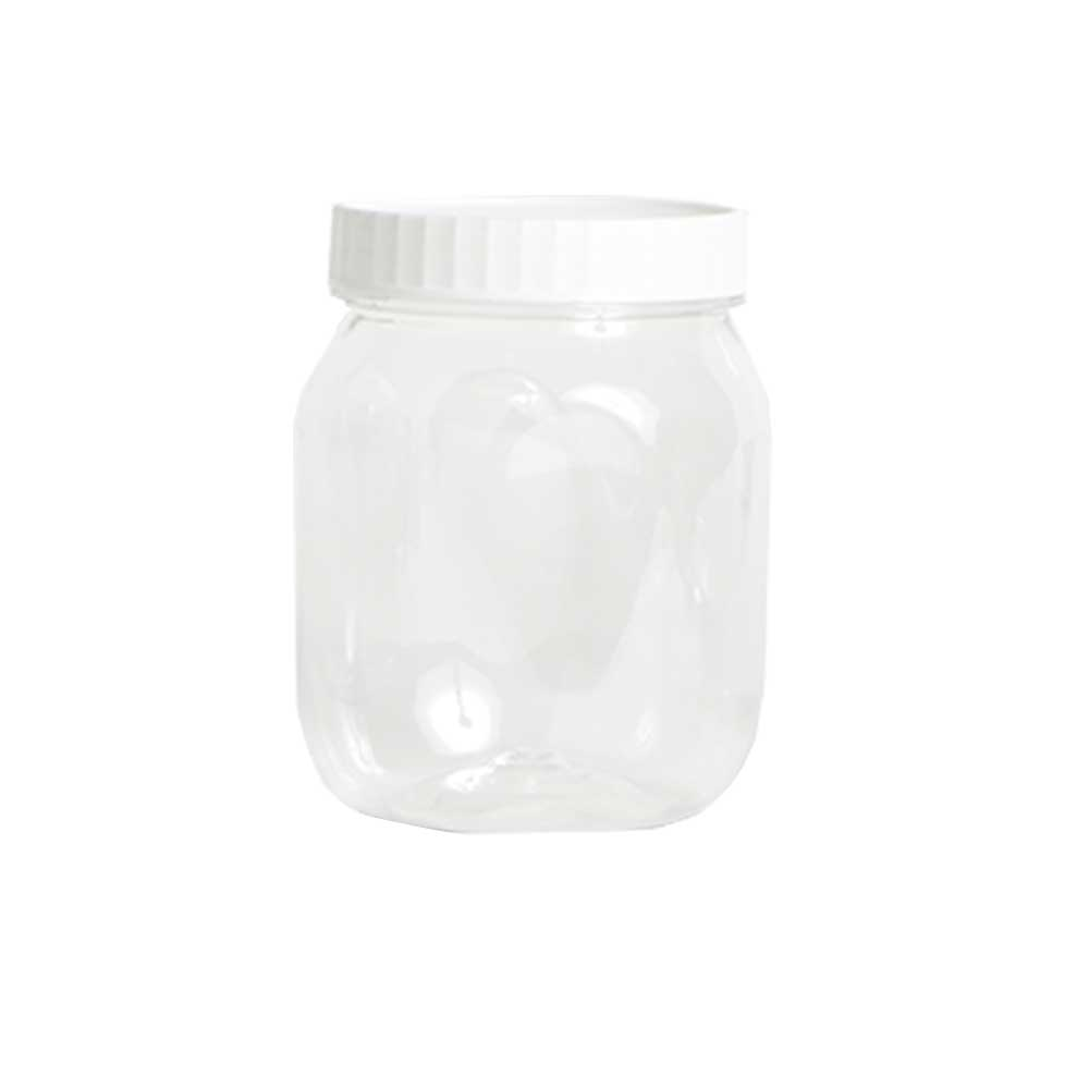 A transparent plastic jar with a round cover 1 liter 3 pieces متجر 15 وأقل