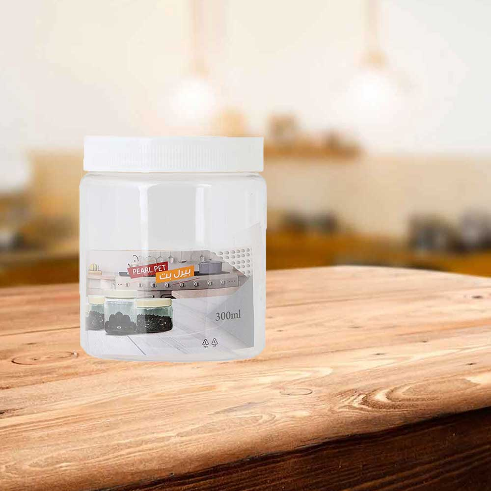 A transparent plastic jar with a round cover 300 ml 6 pieces متجر 15 وأقل