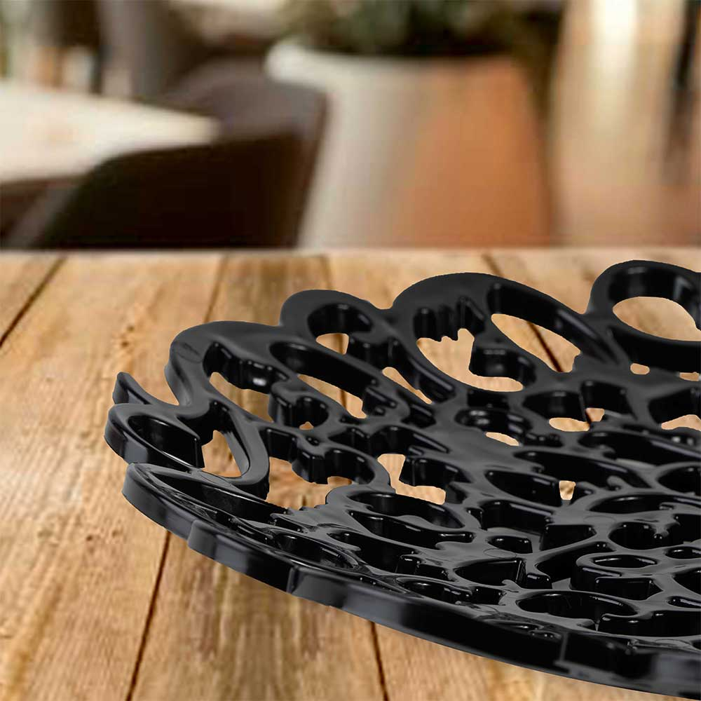 Plastic Decorative Serving Tray in Black color, with a diameter of 29cm متجر 15 وأقل