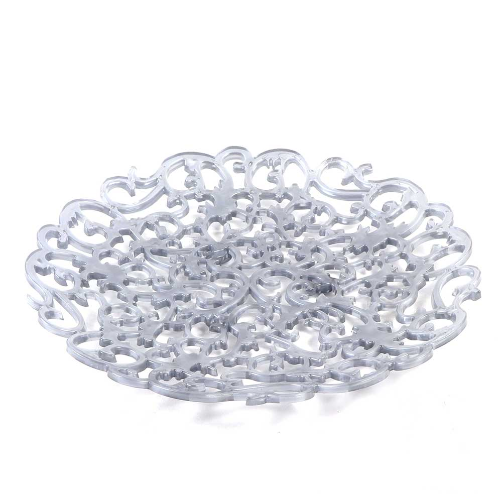 Plastic Decorative Serving Tray in Gray Color, with a Diameter of 29cm متجر 15 وأقل