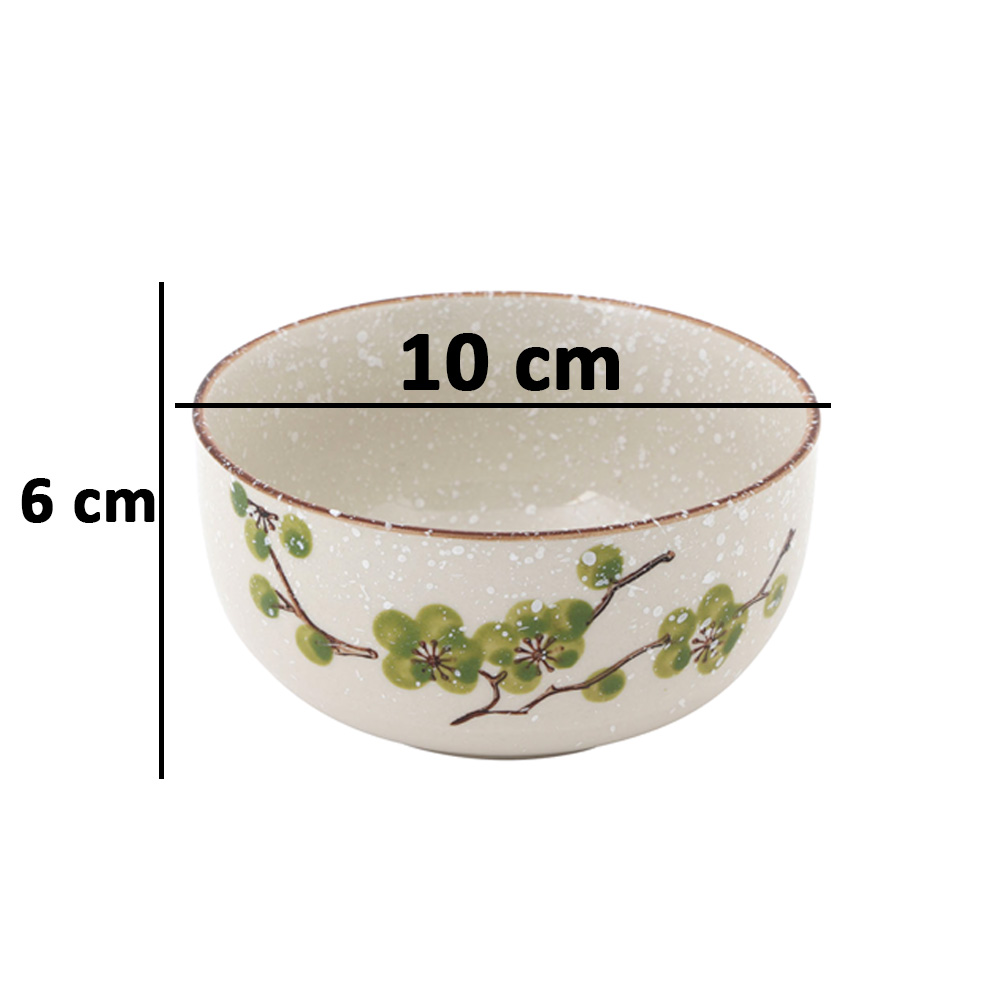 Decorated Ceramic Bowl 4 Pcs in Green Color متجر 15 وأقل