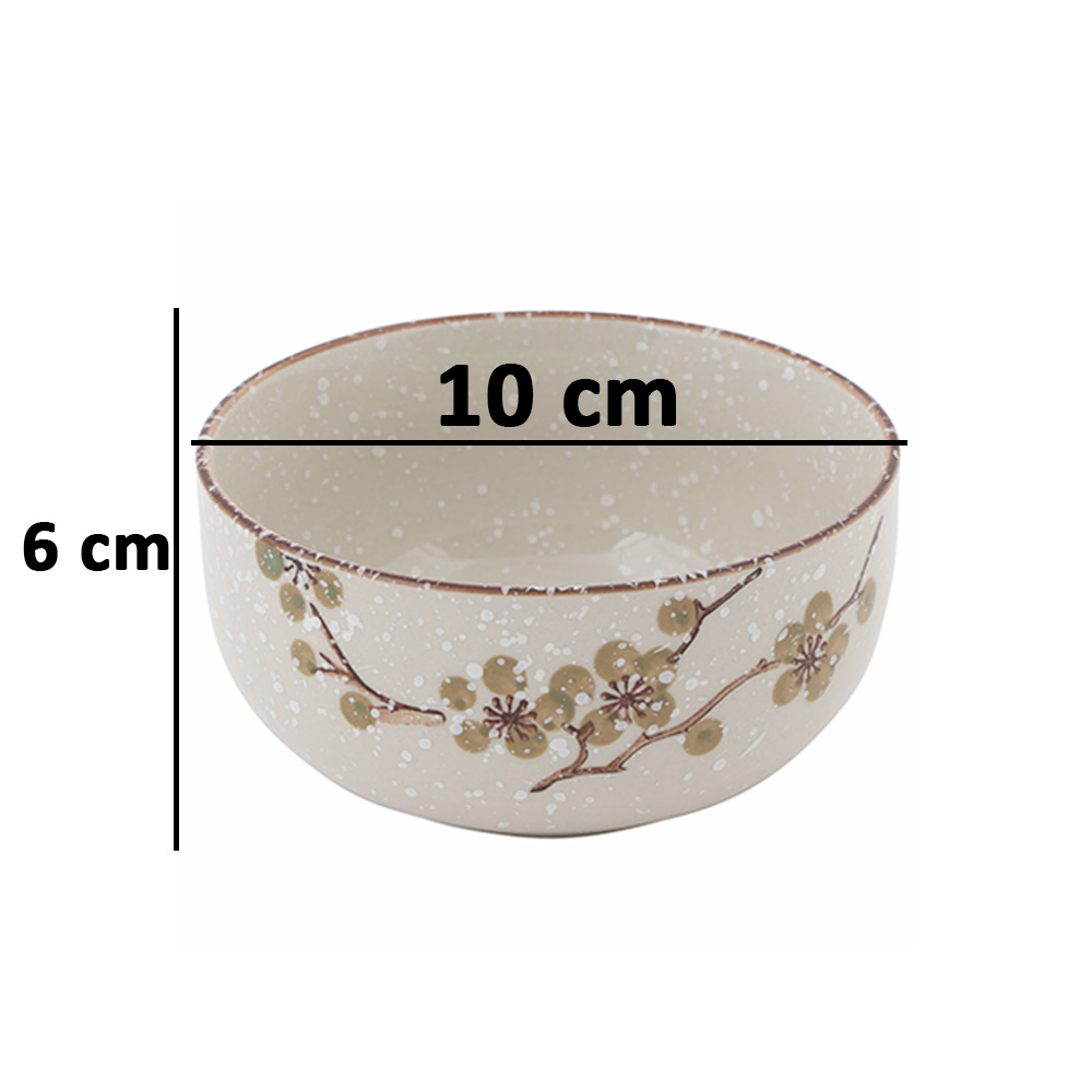 Decorated Ceramic Bowl 4 Pcs in Dark Green Color متجر 15 وأقل
