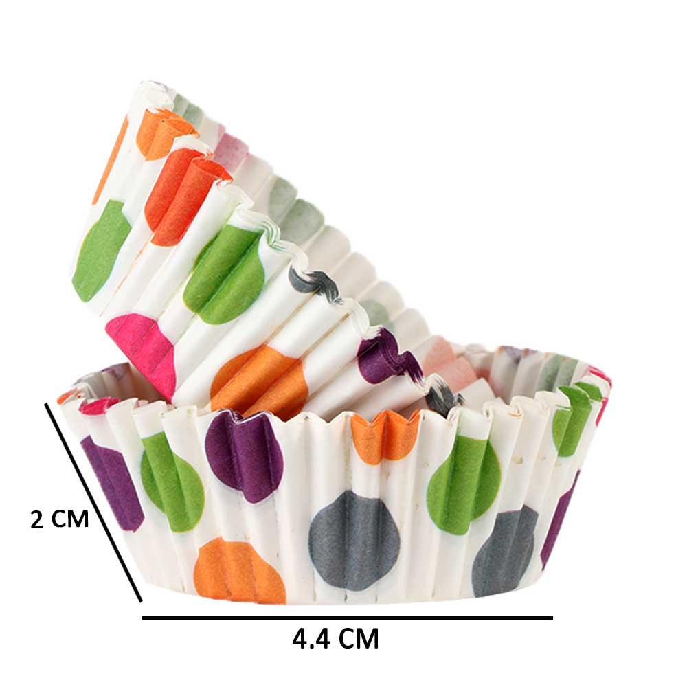قوالب الكب كيك الورقية للخبز 300 قطعة - النقاط الملونة متجر 15 وأقل