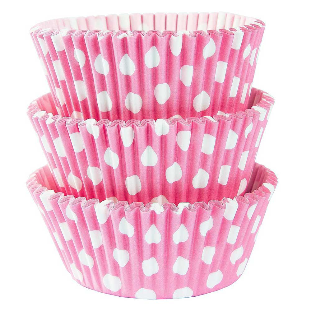Cupcake - Baking Cups Mold Paper 300 PCS - Pink Color with White Spotted متجر 15 وأقل
